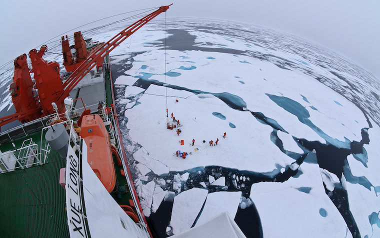 Drift ice in the Arctic Ocean as seen from the deck of icebreaker Xue Long. Image by Timo Palo.